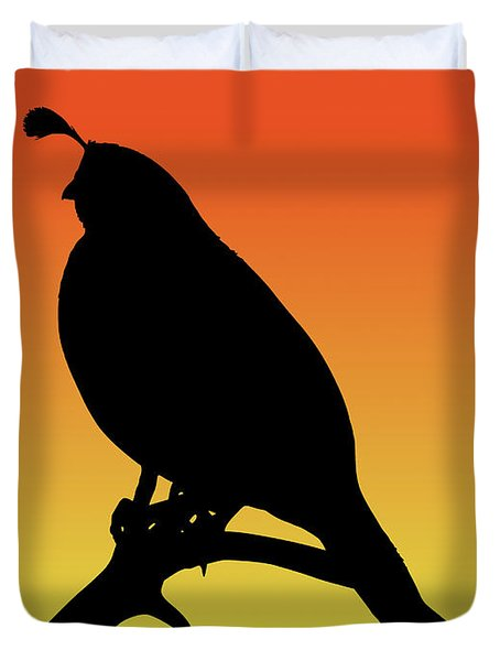 Quail Silhouette At Sunset Duvet Cover