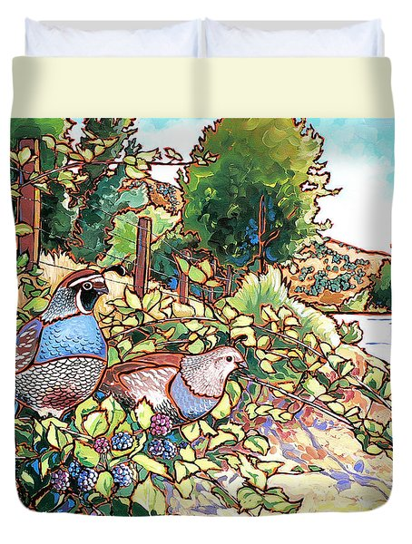 Quails And Blackberries Duvet Cover