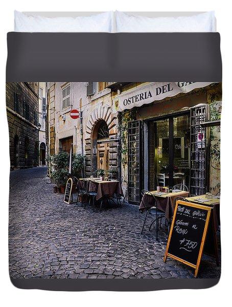 Quaint Cobblestones Streets In Rome, Italy Duvet Cover