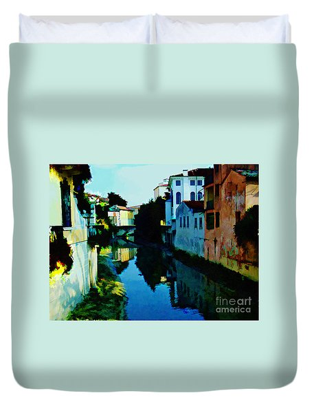 Duvet Cover featuring the photograph Quaint On The Canal by Roberta Byram