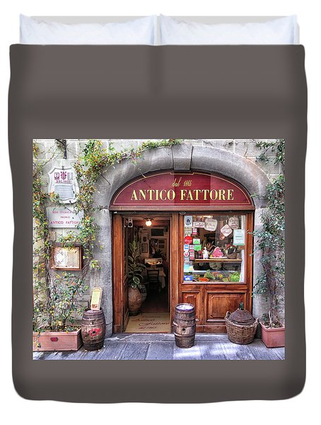 Quaint Restaurant In Florence Duvet Cover