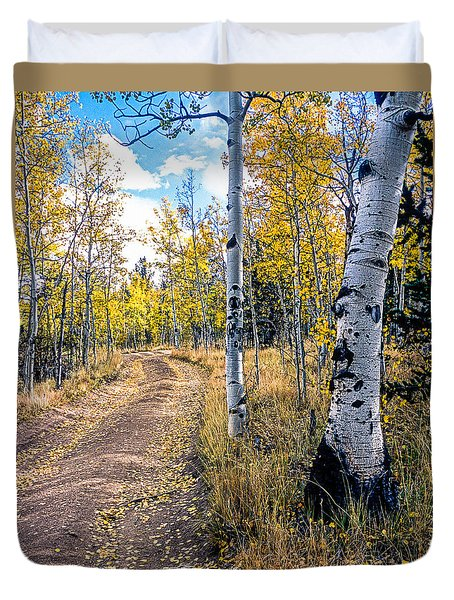Aspens In Fall With Road Duvet Cover
