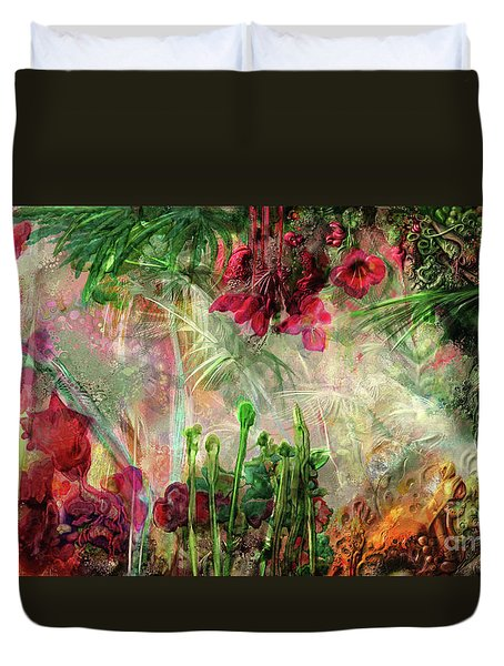 Duvet Cover featuring the digital art Qualia's Jungle by Russell Kightley