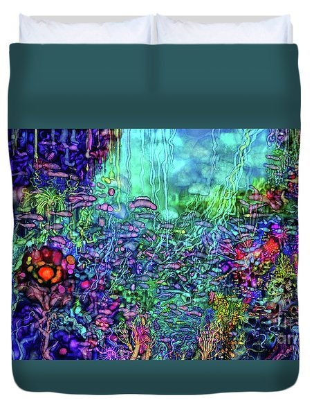 Duvet Cover featuring the digital art Qualia's Reef by Russell Kightley
