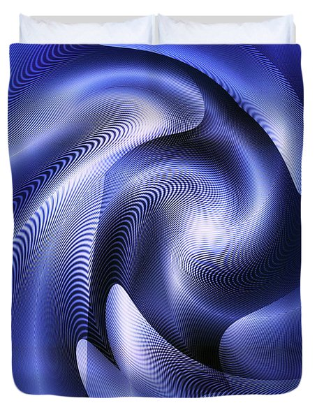 Duvet Cover featuring the digital art Quarter Moon by Visual Artist Frank Bonilla