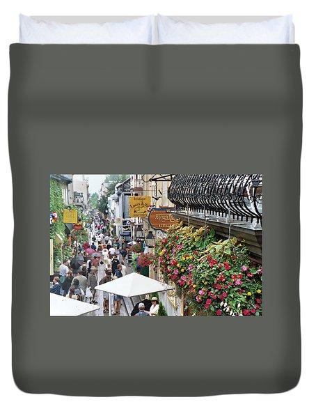 Duvet Cover featuring the photograph Quartier Petit Champlain by John Schneider