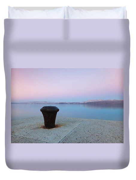 Duvet Cover featuring the photograph Quay In Dawn by Davor Zerjav
