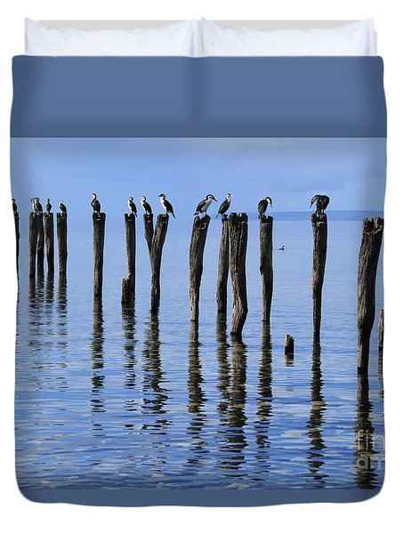 Duvet Cover featuring the photograph Quay Rest by Stephen Mitchell