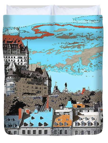 Quebec City Canada Poster Duvet Cover