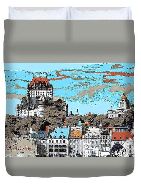 Quebec City Canada Poster Duvet Cover