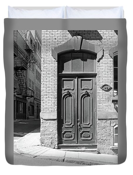 Duvet Cover featuring the photograph Quebec City Doorway by Brooke T Ryan