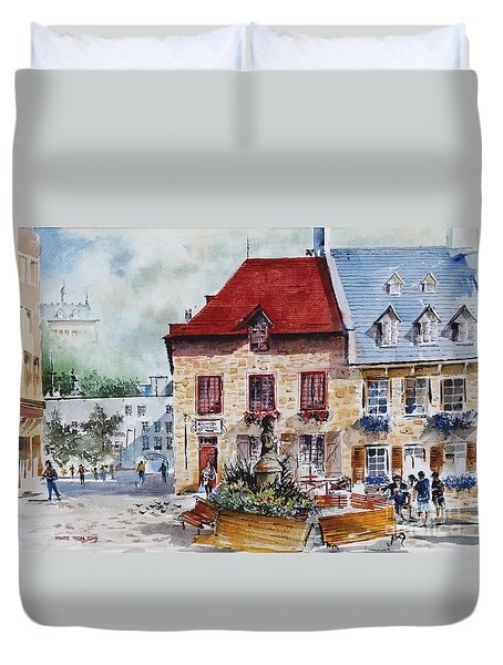 Quebec City Flower Boxes Duvet Cover