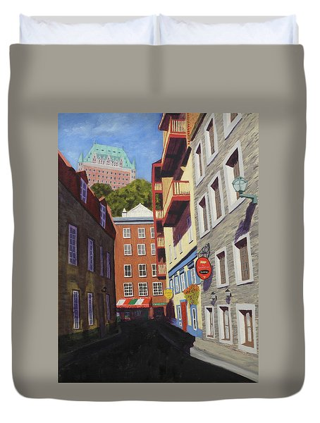 Quebec City Side Street Duvet Cover by Alan Mager