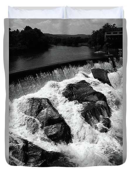 Duvet Cover featuring the photograph Quechee, Vermont - Falls 2 Bw by Frank Romeo