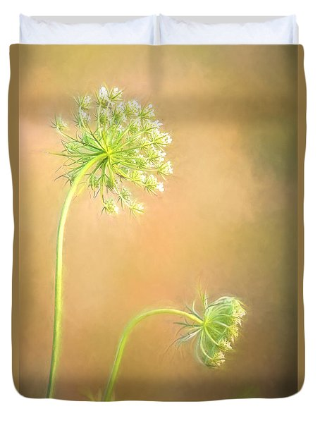 Duvet Cover featuring the photograph Queen Anne's Lace by Laurinda Bowling