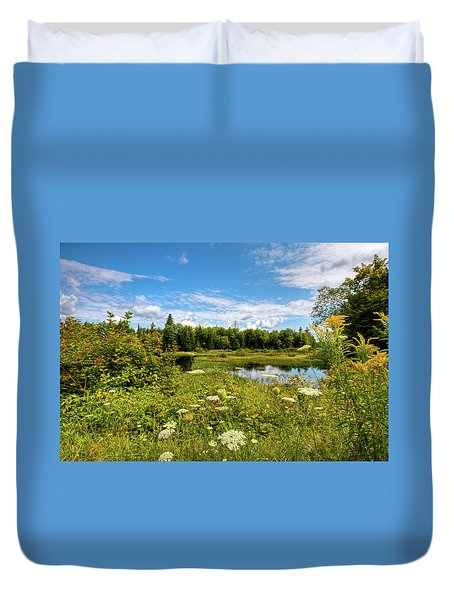 Duvet Cover featuring the photograph Queen Anne's Lace On The Moose River by David Patterson