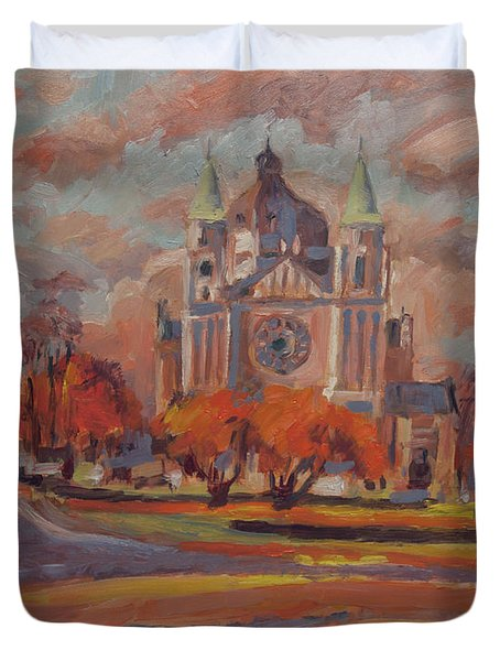 Queen Emma Square In Autumn Colours Duvet Cover by Nop Briex