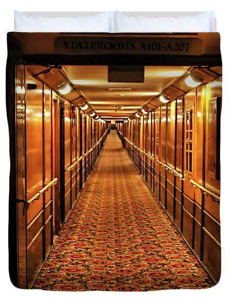 Duvet Cover featuring the photograph Queen Mary Hallway by Mariola Bitner