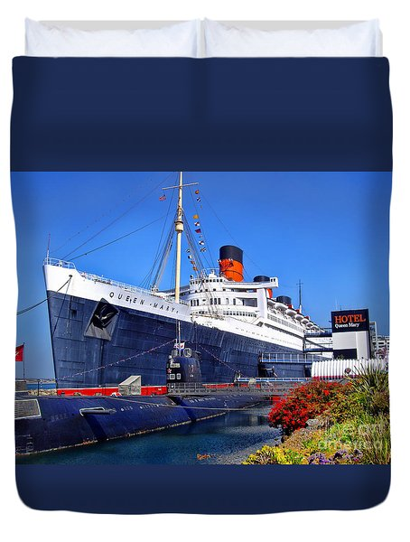 Queen Mary Ship Duvet Cover by Mariola Bitner