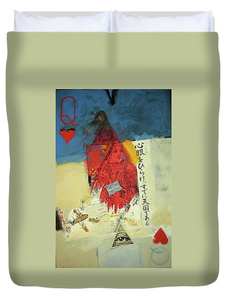 Duvet Cover featuring the mixed media Queen Of Hearts 40-52 by Cliff Spohn
