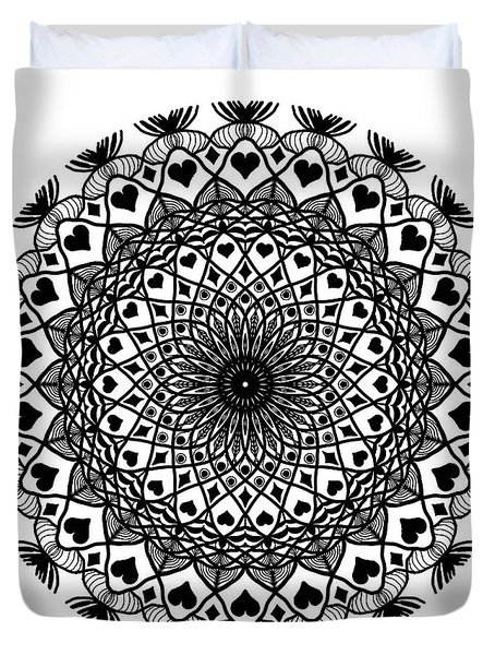 Queen Of Hearts King Of Diamonds Mandala Duvet Cover