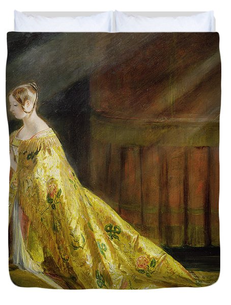 Queen Victoria In Her Coronation Robe Duvet Cover by Charles Robert Leslie