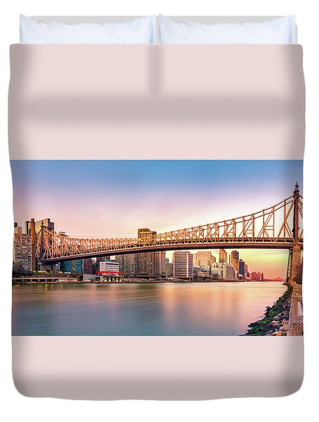 Queensboro Bridge At Sunset Duvet Cover by Mihai Andritoiu