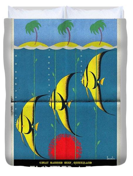 Queensland Great Barrier Reef - Vintage Poster Folded Duvet Cover