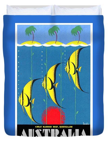 Queensland Great Barrier Reef - Restored Vintage Poster Duvet Cover