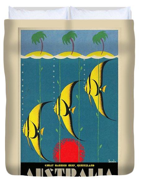 Queensland Great Barrier Reef - Vintage Poster Vintagelized Duvet Cover