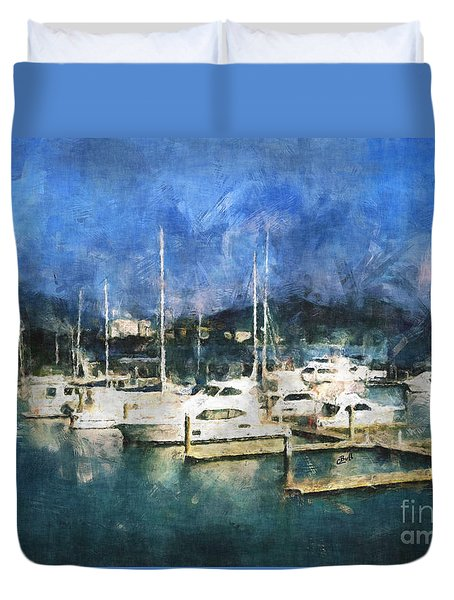 Queensland Marina Duvet Cover by Claire Bull