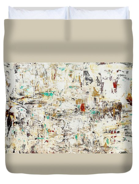Duvet Cover featuring the painting Quest by Carmen Guedez