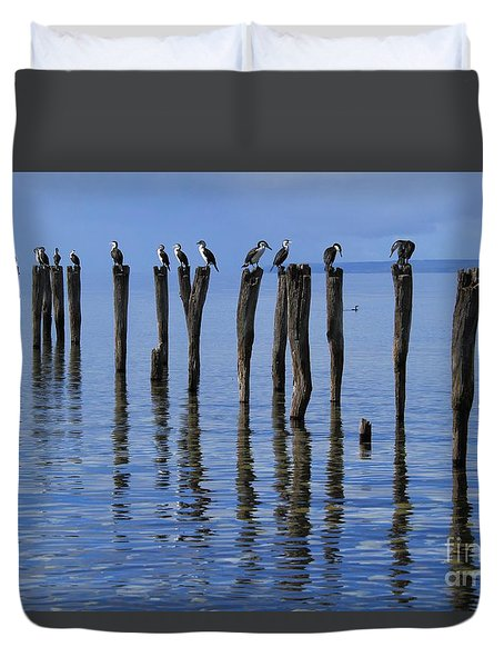 Duvet Cover featuring the photograph Queue Reflected by Stephen Mitchell