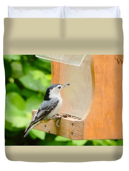 Duvet Cover featuring the photograph Quick Lunch by Betty-Anne McDonald