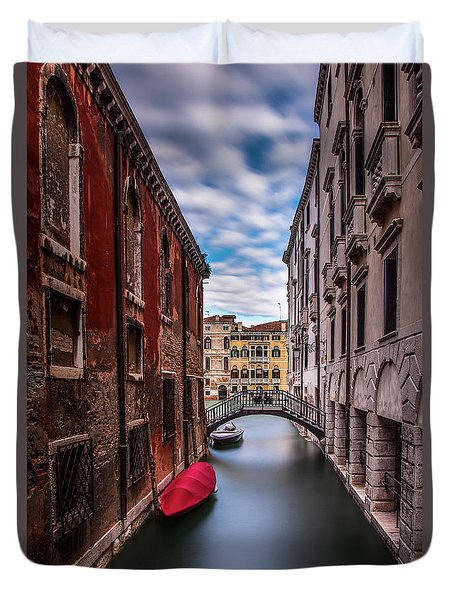 Duvet Cover featuring the photograph Quiet Canal In Venice by Andrew Soundarajan