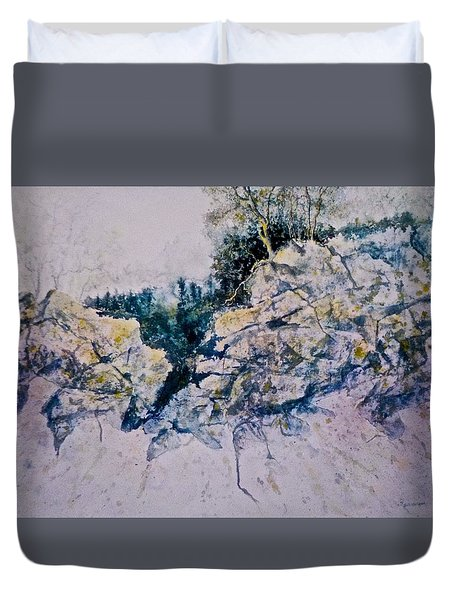 Duvet Cover featuring the painting Quiet Journey by Carolyn Rosenberger