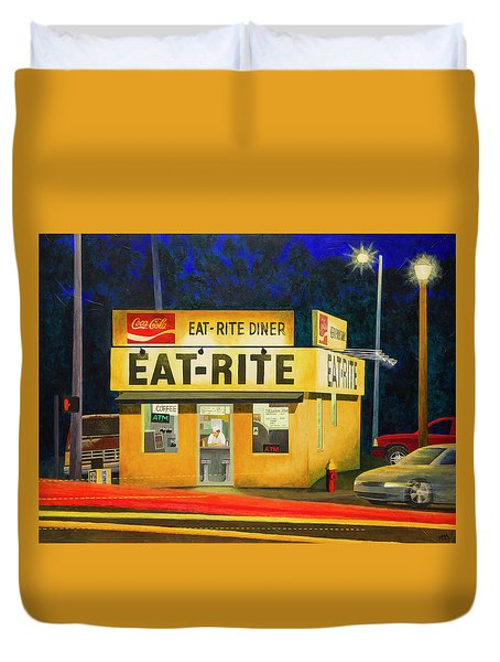Quiet Night At Eat Rite Diner Duvet Cover