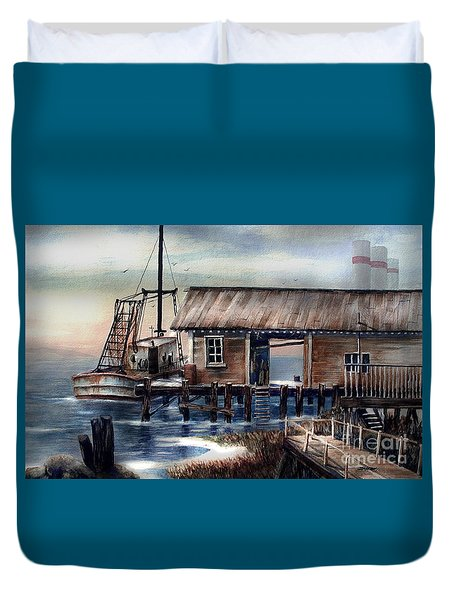 Quiet Pacific Dockside Duvet Cover