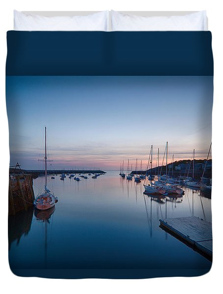 Duvet Cover featuring the photograph Quiet Solitude Rockport Harbor by Jeff Folger
