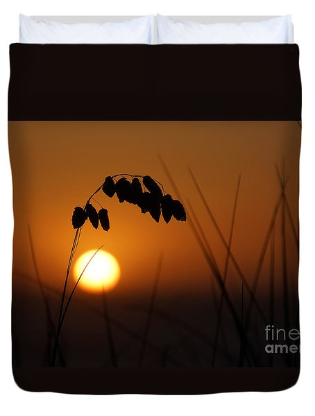 Duvet Cover featuring the photograph Quiet Sunset by Inge Riis McDonald