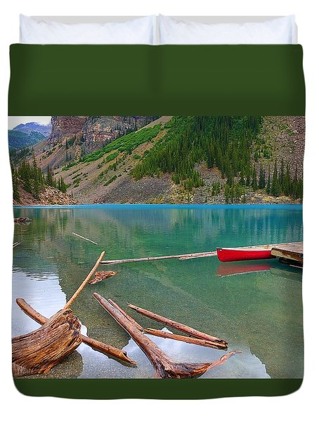 Moraine Lake I, Alberta Duvet Cover