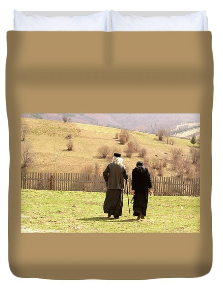 Quiet Walk At The Monastery Duvet Cover