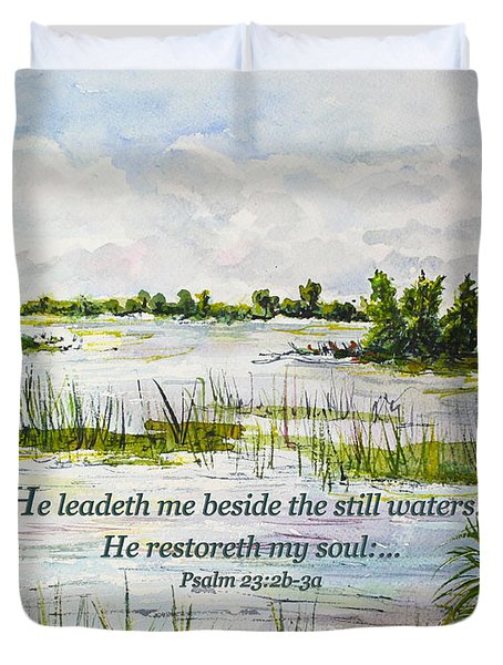 Quiet Waters Psalm 23 Duvet Cover