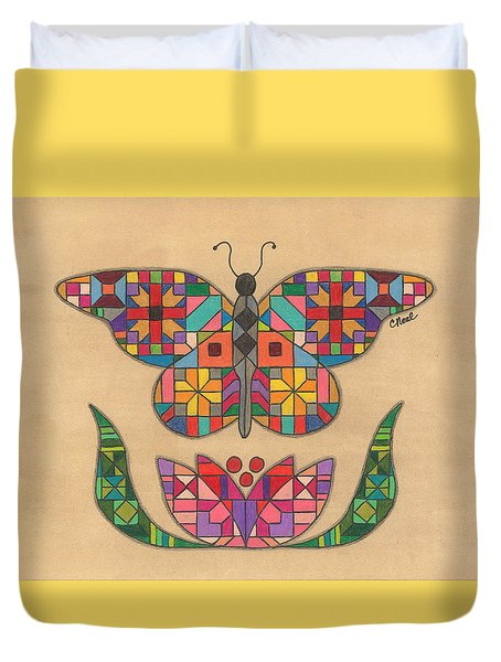 Quilted Butterfly Duvet Cover
