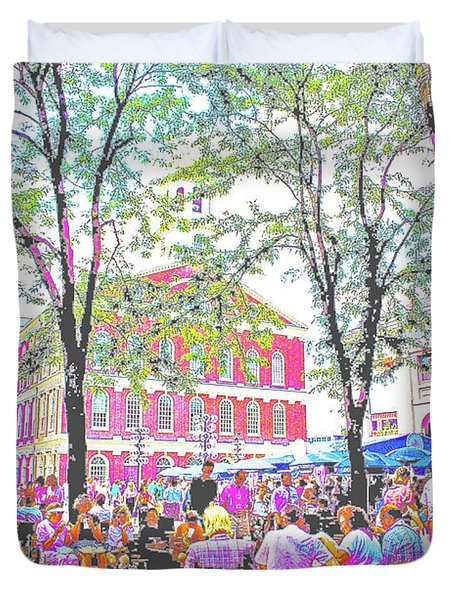 Quincy Market, Boston Massachusetts, Poster Image Duvet Cover