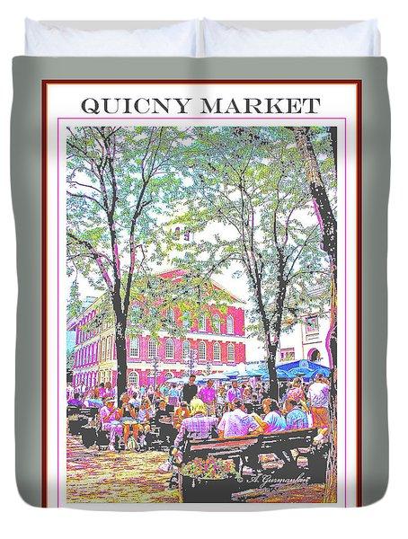 Quincy Market, Boston Massachusetts, Poster Image Duvet Cover