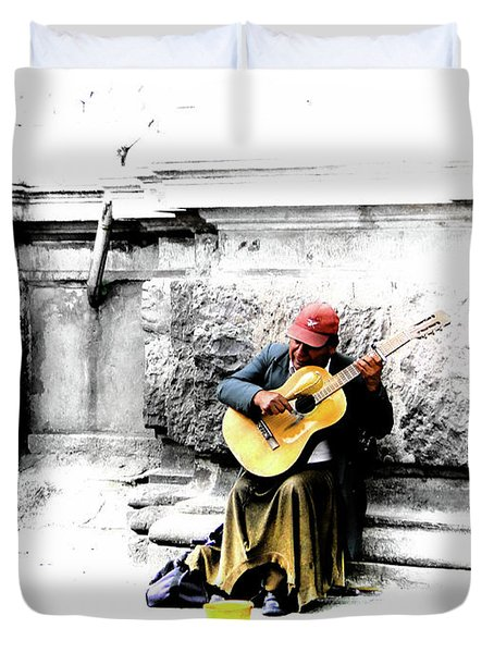 Quito Street Musician II Duvet Cover