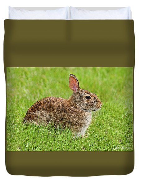 Rabbit In A Grassy Meadow Duvet Cover