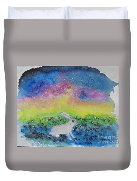Rabbit In Galaxy 5 Duvet Cover