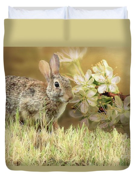 Eastern Cottontail Rabbit In Grass Duvet Cover by Janette Boyd